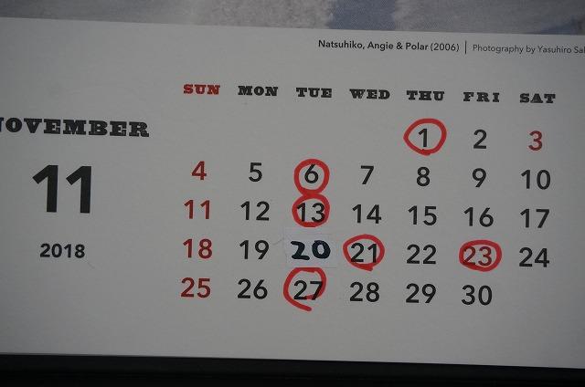 11月は1日木曜、21日水曜、23日金曜日お休みさせて頂きます! 20日火曜日は営業致します!!